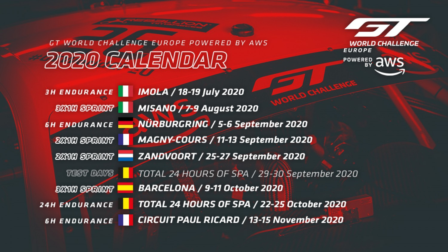 Summer starts comfirmed for GT World Challenge Europe Powered by AWS, GT Sports Club Europe to be integrated
